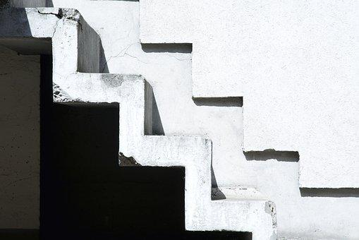 Stairs, House, Black And White, Contrast, White