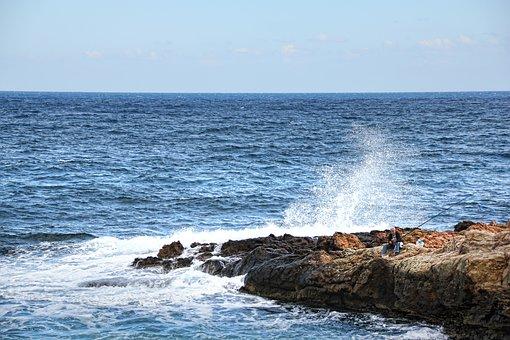 Angler, Sea, Wave, Coast, Surf, Fischer, Fish, Fishing
