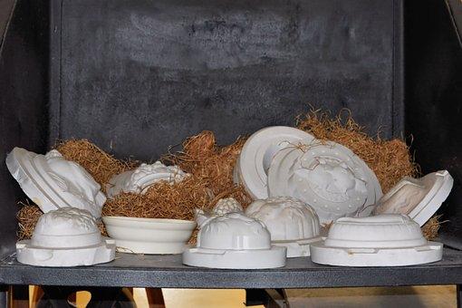 Plaster Moulds, Wood Wool, Form, Porcelain, Museum, Old
