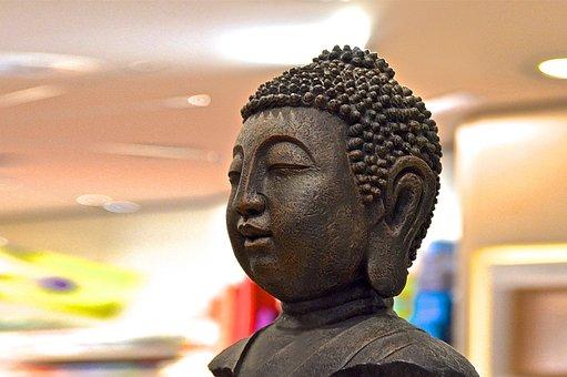 Buddha, Buddha Figure, Head, Bust, Bronze Sculpture