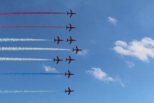 Red Arrows, Flight, Airplane, Jet, Sky, Smoke, Display