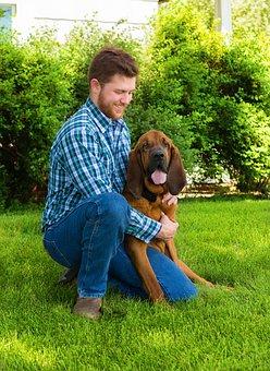 Blood Hound, Man, Best Friend, Dog, Together, Happiness