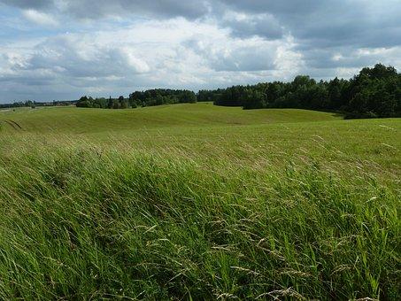 Cornfield, Masuria, Moraine Landscape, Sky, Clouds