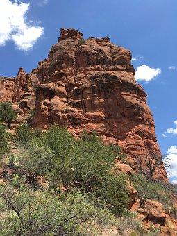 Sedona, Red, Rock, Tree, Nature, Blue, Sky, Arizona