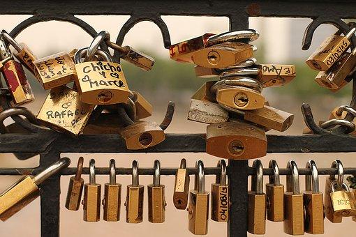 Locker, Bridge, Love, Symbol, Padlock, Couple, Heart