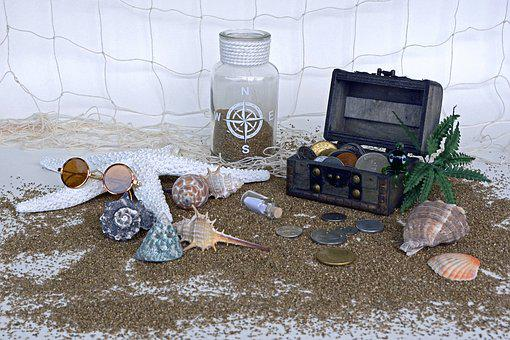 Treasure Chest, Sand, Squid, Palm, Starfish, Mussels