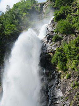 Waterfall, Plunge, Inject, Mountains, Partschins
