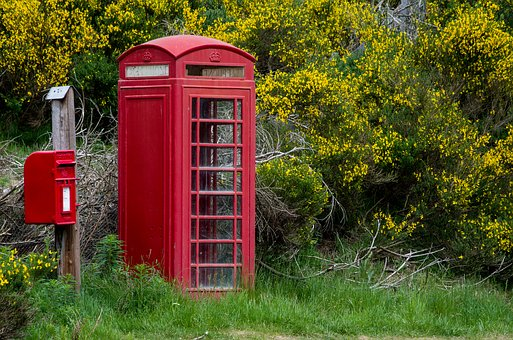 English Phone Booth, England, Phone Booth, Mailbox, Red