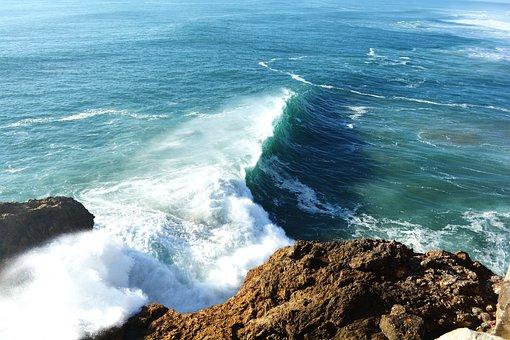 Nazareth, Portugal, Mar, Beach, Waves, Gigantic Waves