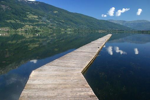 Bridge, Lake, Reflected In Water, Landscape, Rest