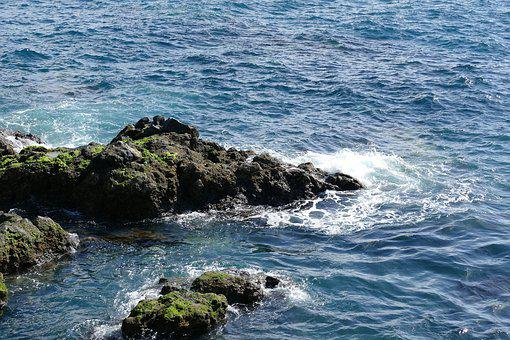 Rock, Sea, Rock Of Ages, Wave, Surf, Summer, Sun