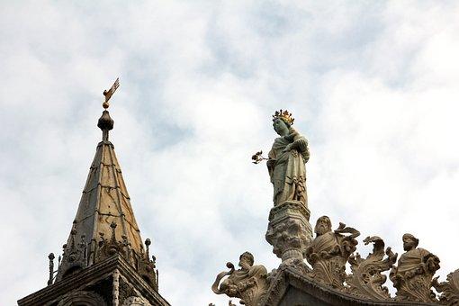 Plaster Figure, Figure, Sculpture, Roof, Woman, Angel