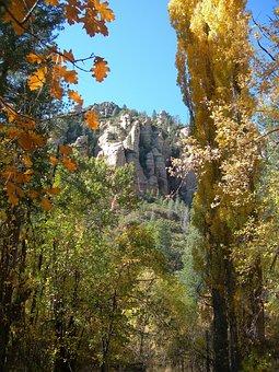 Sedona, Az, Landscape, Red, Rock, Sky, Scenic, Tree