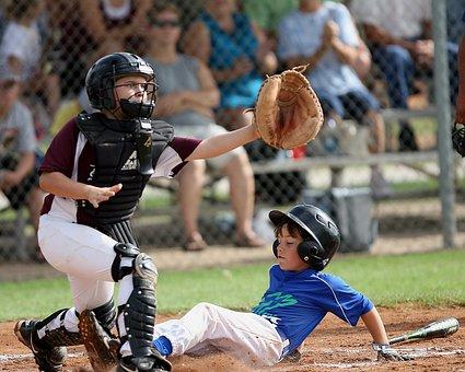Baseball, Sliding Into Home, Scoring, Catcher, Runner