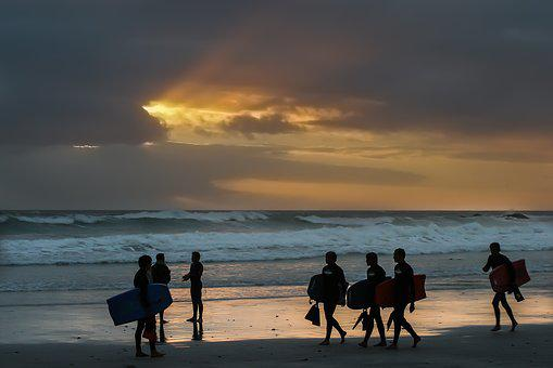 Surfer, Sunset, Group, Sky, Beach, Sea, Summer, Coast