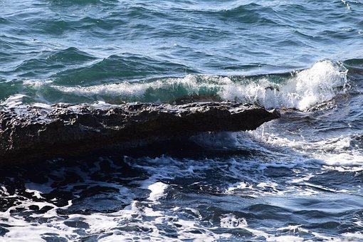 Sea, Rock, Coast, Water, Surf, Wave, Close Up