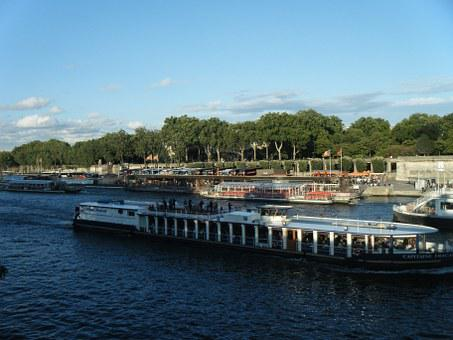 The River Seine, Bridge, Paris, France, River, Ship