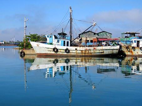 Cutter, Ship, Port, Haven, Water, Reflection