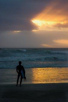 Surfer, Sunset, One, Sky, Beach, Sea, Summer, Coast
