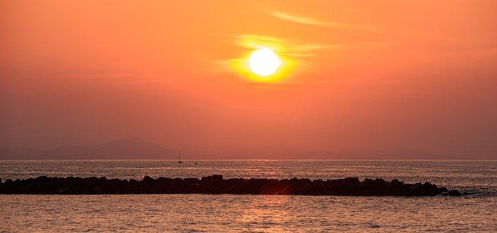 Sunset, Puestasol, Breakwater, Sun, Sea