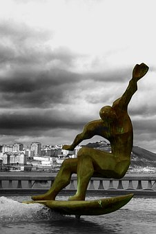 Surfer Sculpture, Spain, Surfing, Statue, Ocean