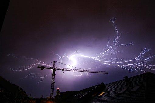 Thunderstorm, Flash, Crane, Hurricane, Nature, Disaster