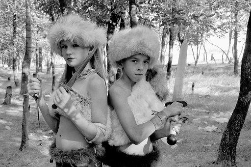 Trail, War, Vikings, Amazon, Boy, Girl, Forest, Leaves