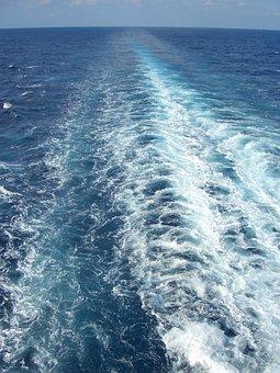 Water, Ocean, Wake, Wave, Blue, Sea, Surf, Nature