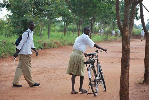 African, Uganda, Going Home, Bicycle, Riding, Girl Boy