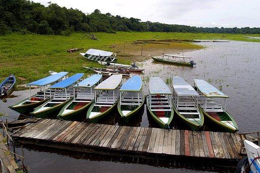 Boats, Amazon, River, Brazil, Water, Rainy