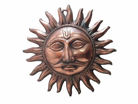 Surya Mukh, Black Metal, Copper Finish, Bronze, Sun