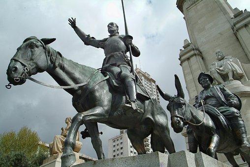 Cervantes, Don Quixote, Madrid, Statue, Bronze, Spain