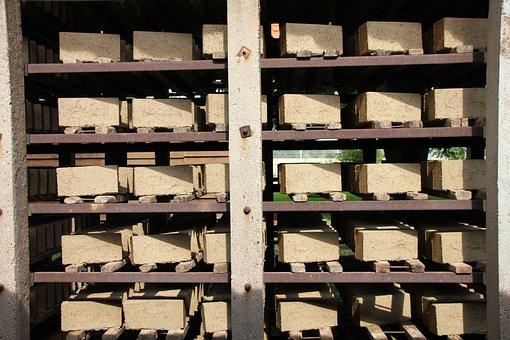 Factory, Stock, Storage, Brick, Build, Drying, Shelf