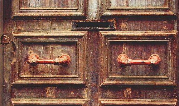Wood, Door, Mail Slot, Handle, Vintage, Entrance
