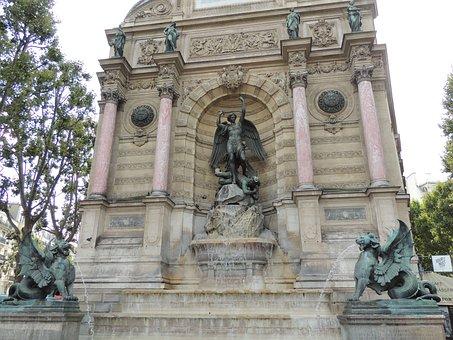 Square, Fountain, Saint-michel