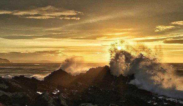 Nature, Dawn, Winter, Beach, Water, Sky, Galician Coast