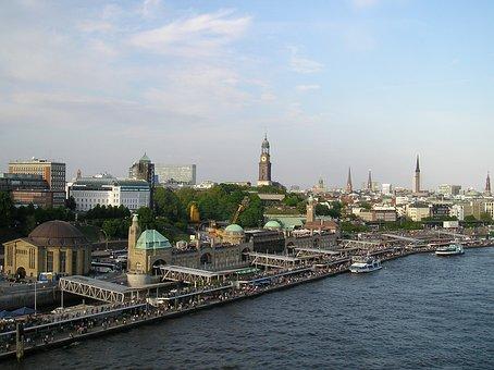 Hamburg, Landungsbrücken, Skyline, Elbe, Michel