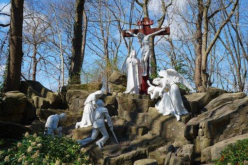 Statue, White, Park, Christian, Cross, Religion, Hill
