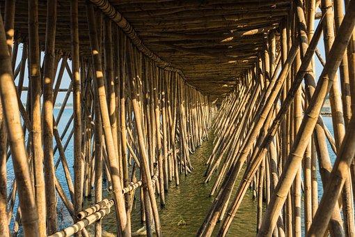 Cambodia, Kampong Cham, Bamboo, Bridge, Tonle River