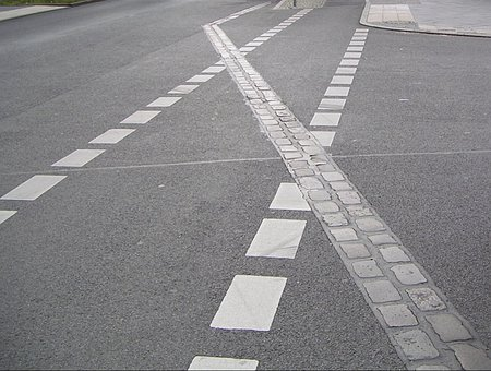 Road Marking, Paving Stones Show Wall History, Mark