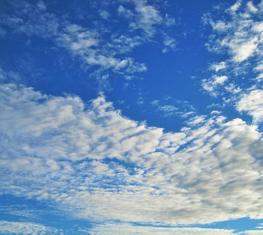 Sky, Blue, Vivid, Cloud, Flocky, Massed