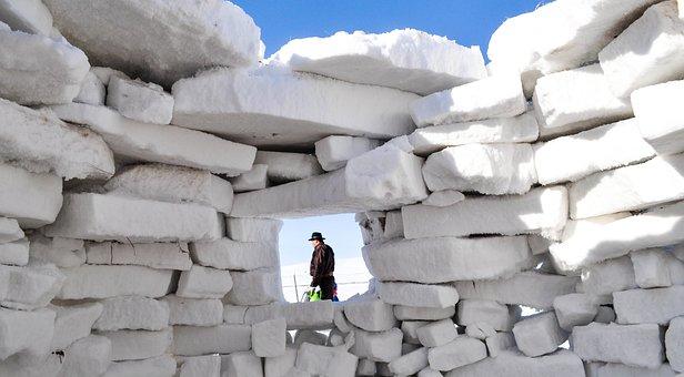Quinzhee, Snow Shelter, Window, White, Shadow, Winter