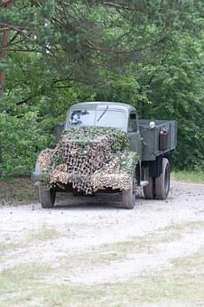Truck, The Military, Forest, Reconstruction Of The