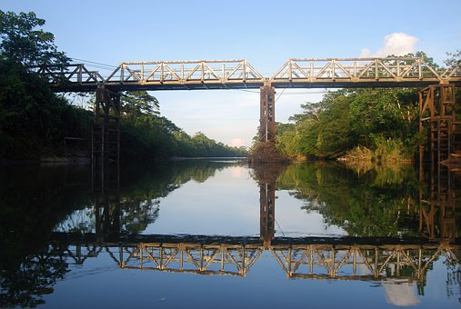 Amazon, Bridge, Reflection, Water, Brightness, Mirror
