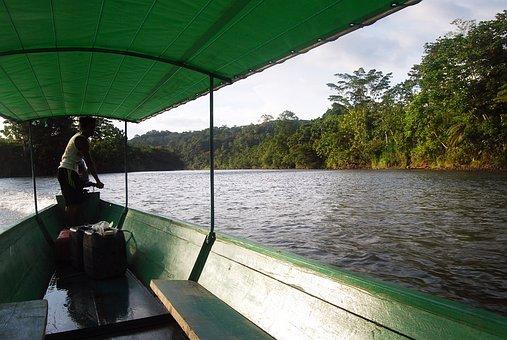 Amazon, Canoe, River, Sunset, Water, Barca, Landscape