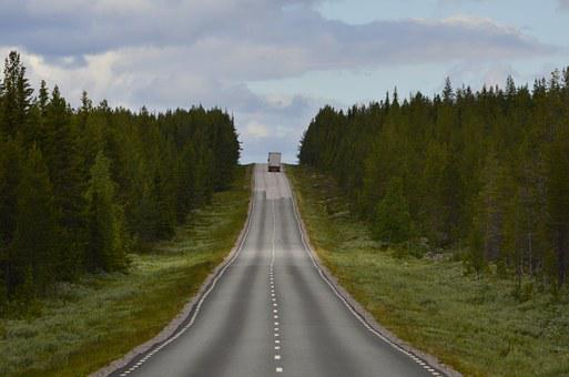 Road, Truck, Forest