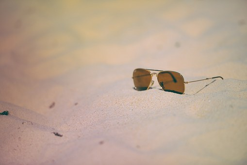 Sunglasses, Beach, Sand, Summer, Holiday, Aviator