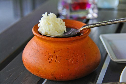 Rice, Thai, Bowl, Spoon, Clay, White, Resort, Fragrant