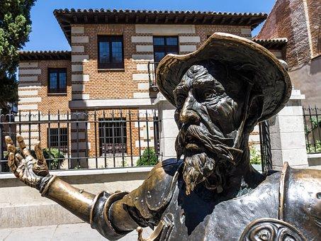 Don Quixote, Spain, Book, Reading, Statue, Madrid