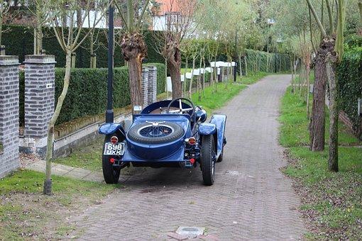 Antique, Classic Car, Locomobile, Street, Narrow, Road